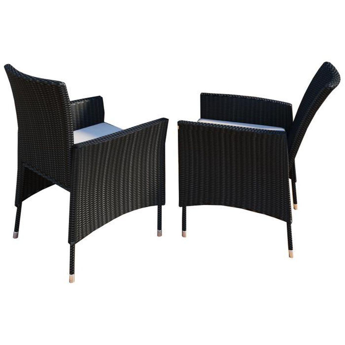 2x Chaise de jardin Rotin avec coussin Noir - Achat / Vente fauteuil ...