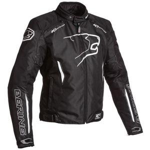 BERING Blouson Moto Tissu Eskadrille Noir et Blanc