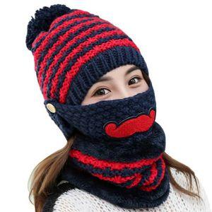 75081d401f8 ECHARPE - FOULARD Bonnet hiver chaud pour femme en tricot bonnet Bob