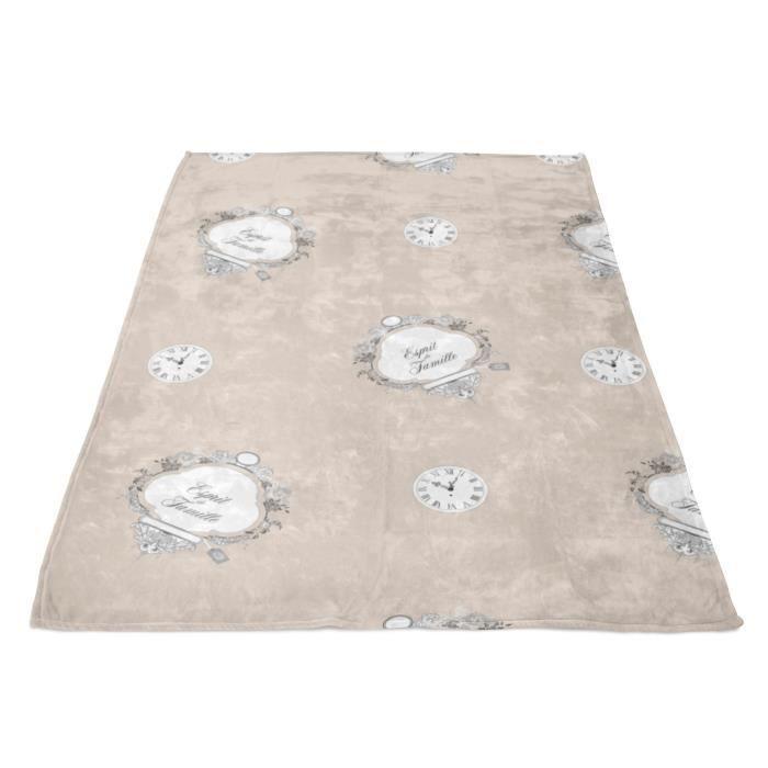 SOLEIL D' OCRE Plaid polaire microfibre Esprit de Famille - 110 x 160 cm - Taupe