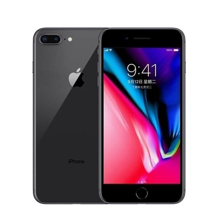 efbaad8a1040e8 iPhone 8 plus 64GO noir mat débloqué Grade A+++ remise à neuf  +écouteur+chargeur Européen+USB câble+boîte