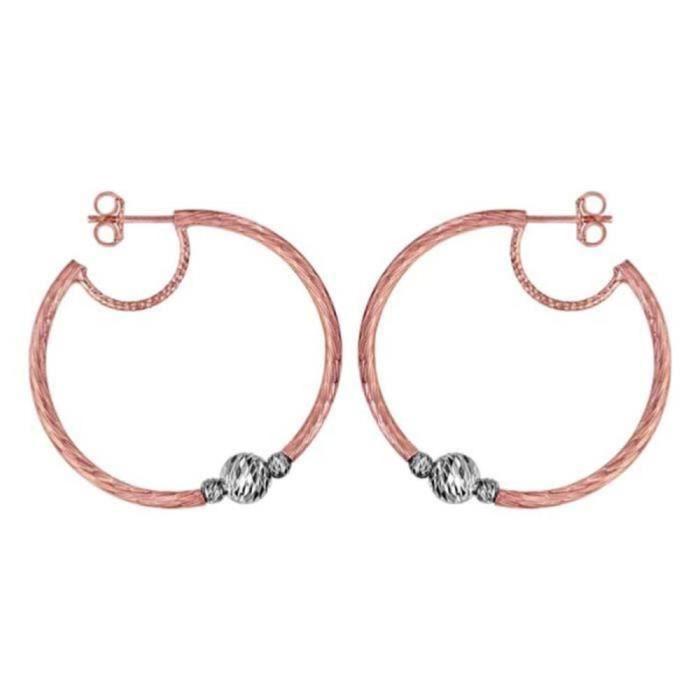 Boucles doreilles Argent 925 et Dorure Rose Style Créole avec Boules Ciselées