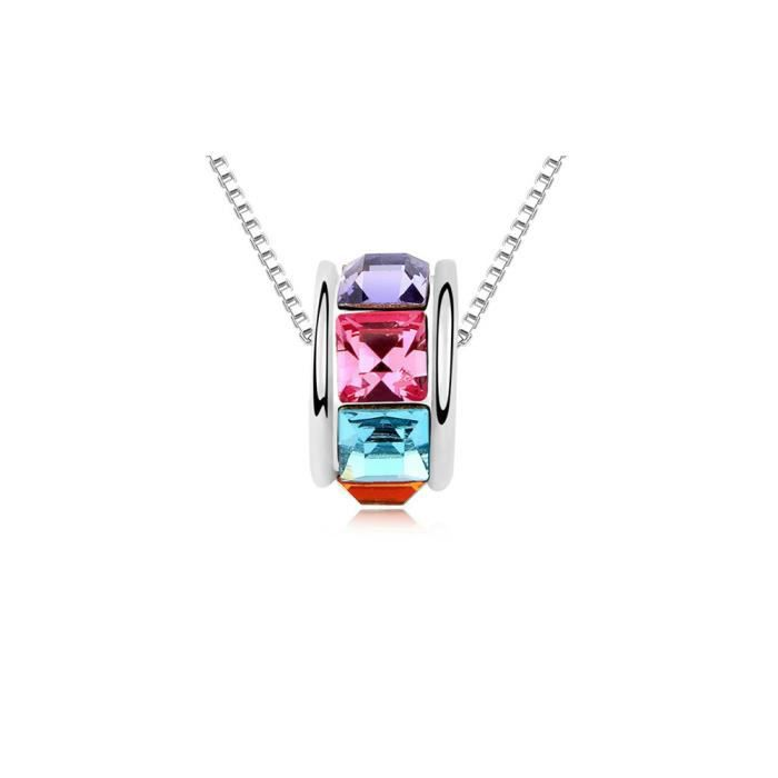 Collier Anneau en Cristal de Swarovski Elements Multicolor et Plaqué Or Blanc