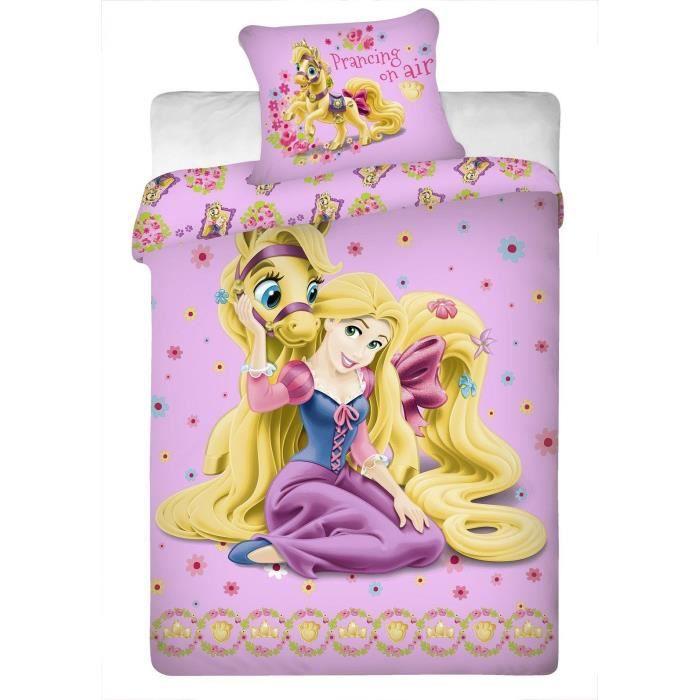parure de lit raiponce disney princesses raiponce achat vente parure de drap cdiscount. Black Bedroom Furniture Sets. Home Design Ideas