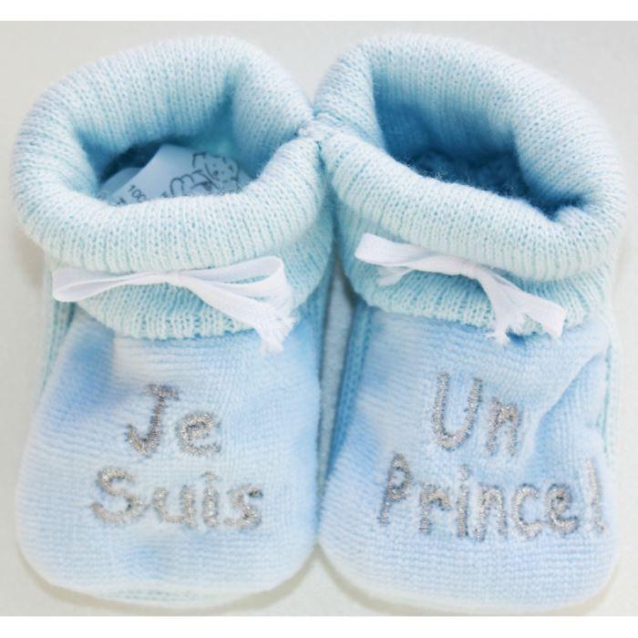 """Chaussons bébé brodés """"Je suis u... Bleu/argent"""