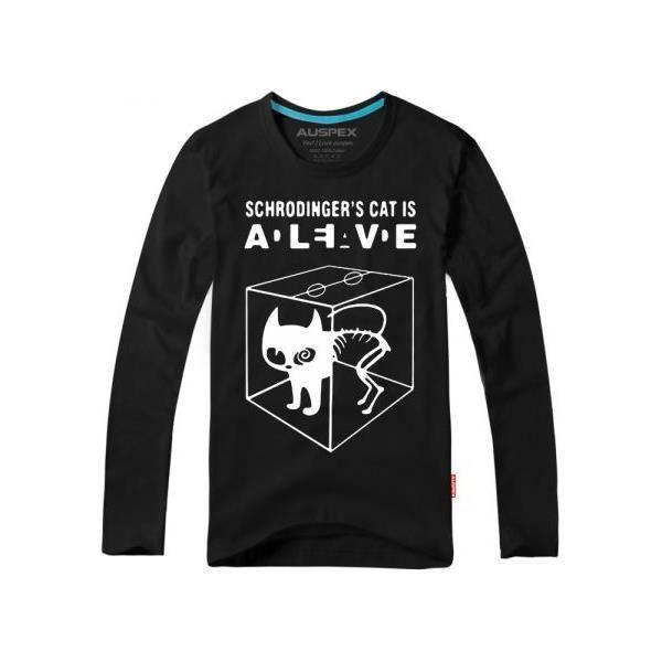 Tee Shirt Chat De Schrodinger Coton Look Decont Noir Achat