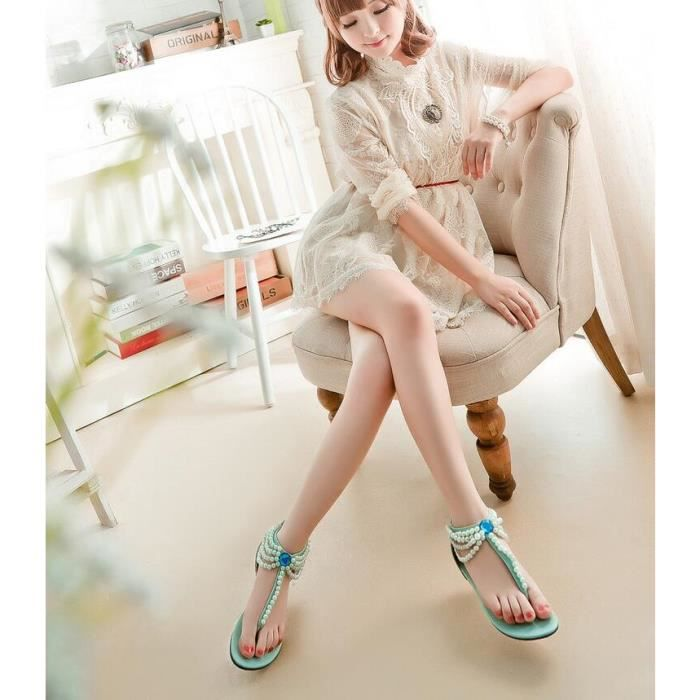 Doux Casual Pure Color Thong Sandal avec perles... hmdUpao