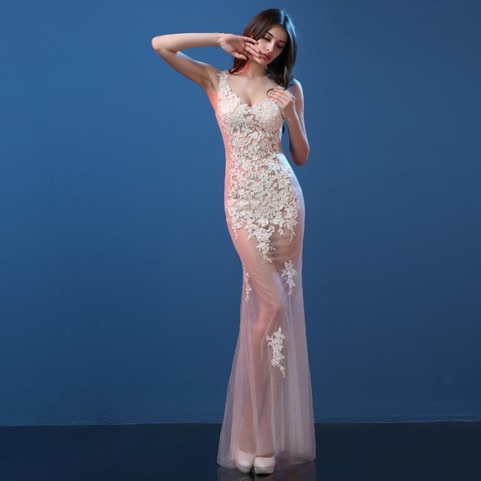 Robe de soirée longue bal Robe style sirène sexy voile champagne