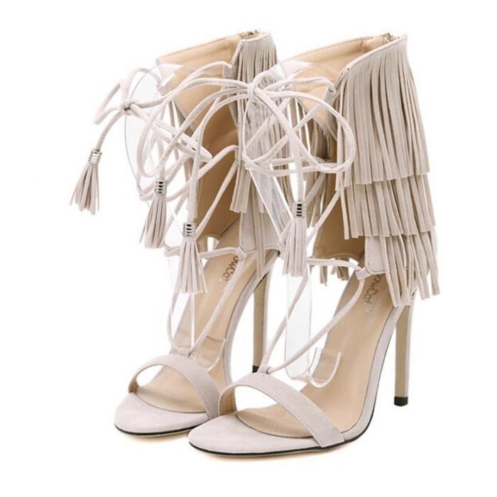Sandales femmes suède cravate cheville dentelle franges hauts talons gland