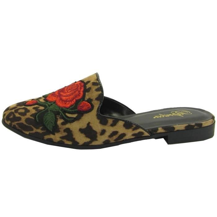 Embroidered Floral Slip On Mule Loafer Slipper Flats DM0FQ Taille-39 FWqNq0W
