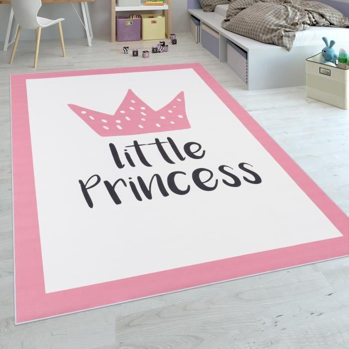 Tapis Enfant Chambre Enfant Filles Tapis Bébé Lavable Princesse Inscription  Rose