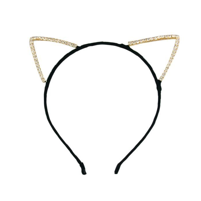 Bandeau Serre Tete Avec Des Oreilles De Chat En Strass Pour Deguisement De Bal Masque Fete Costume Noir
