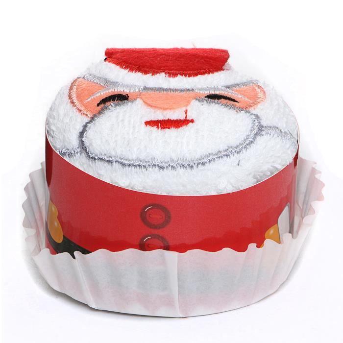 Gateau De Fete De Noel.Tempsa Coton Serviette Forme Gâteau Cadeaux Fête Déco 30x30cm Père Noël