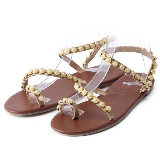Cuir Perles Plates Mode Benjanies Vintage marron Femmes Sandales Plage Sandales De vmwNn08