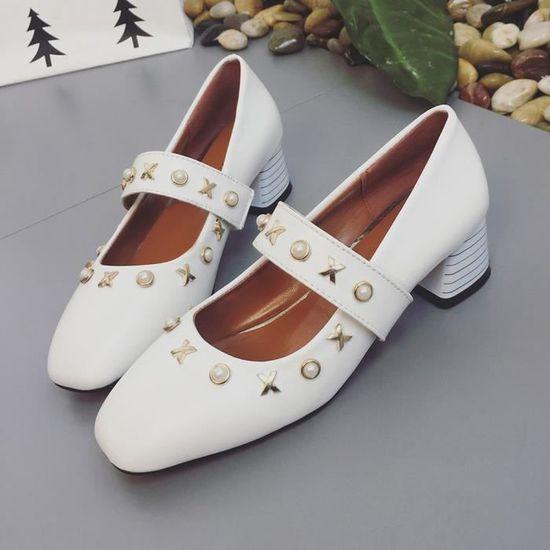 Imitation Peep Femmes Blanc Cheville Chaussures Pearl Les toe Talon Avec Place Boucle Med LSqGzVpUM