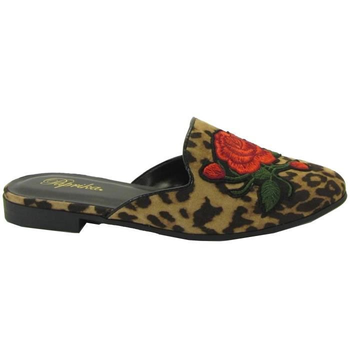 Embroidered Floral Slip On Mule Loafer Slipper Flats MFYAO Taille-37