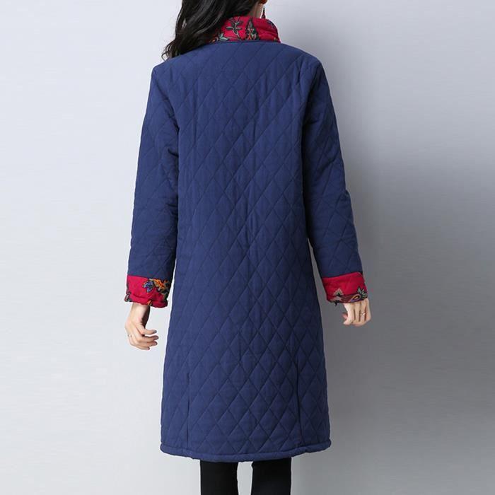 Boutons Folk Long Chaud personnalisés Et Manteau D'impression Ert2607 Parka Les Outwear Veberge Coton Femmes Épais vFEnIxaq