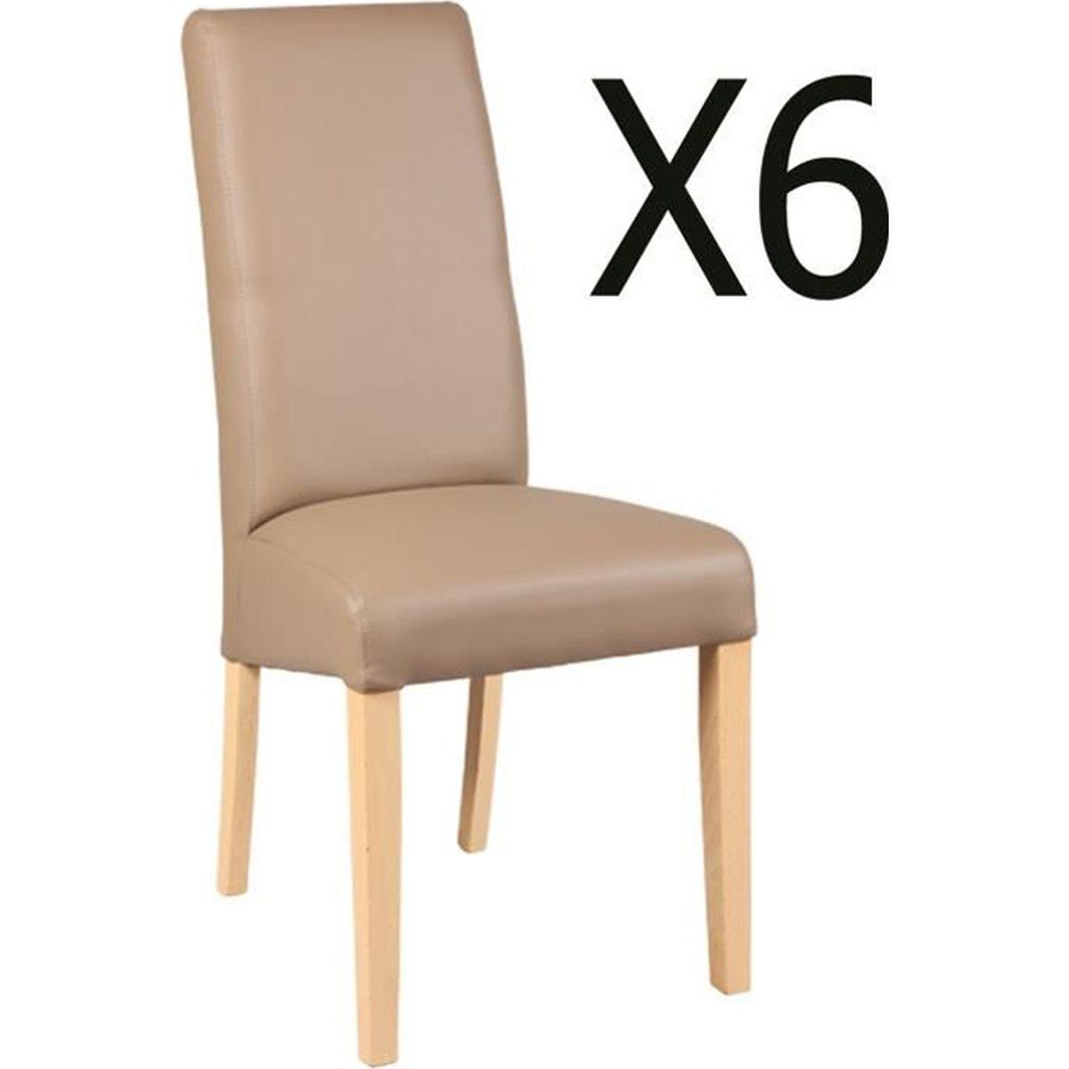 chaise lot de 6 chaises en htre et simili cuir coloris t - Chaise Simili Cuir