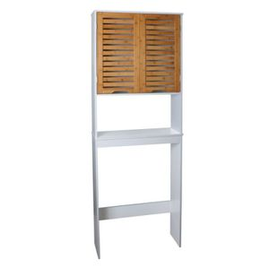 LINDA Simple et épuré, ce meuble pour WC convient aussi bien aux grandes salles de bain qu'aux petites - C'est un gain de place considérable - Style et design contemporain - Structure en panneaux de particules blanc et décor bois - Muni de deux portes et