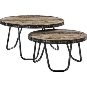 TABLE BASSE Ensemble de 2 Tables basses rond structure en méta