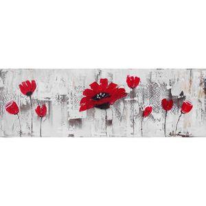 TABLEAU - TOILE FLEURS ROUGES Toile peinte Fleur - Coton - 40x120