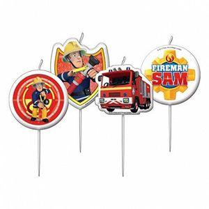 BOUGIE ANNIVERSAIRE Lot 4 Bougies Sam Le Pompier 7,5cm - Décoration Ga