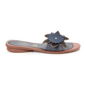 SANDALE - NU-PIEDS Sandales en cuir - bleu foncé
