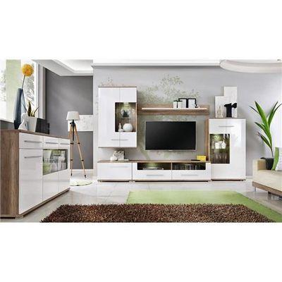 Meuble Tv Design Mural Laas Bois Clair Et Blanc Composition Bois