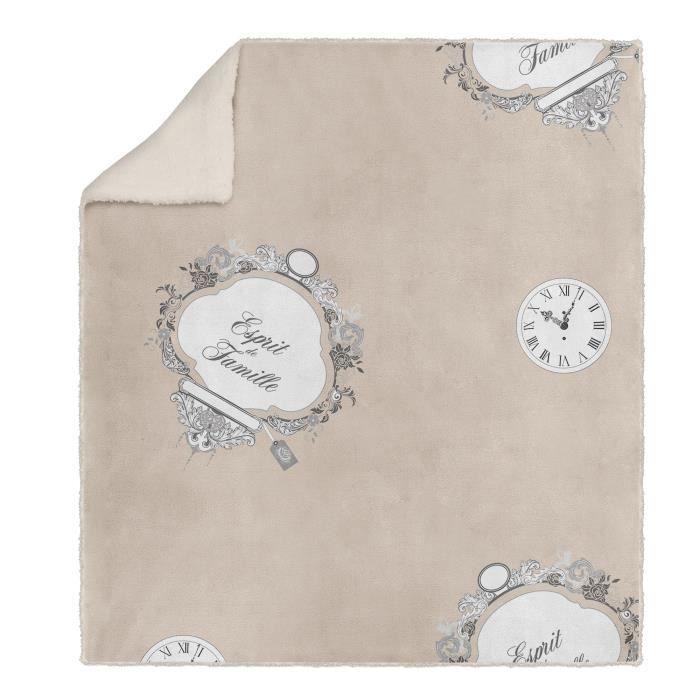 SOLEIL D' OCRE Couverture polaire microfibre Esprit de Famille - 220 x 240 cm - Taupe