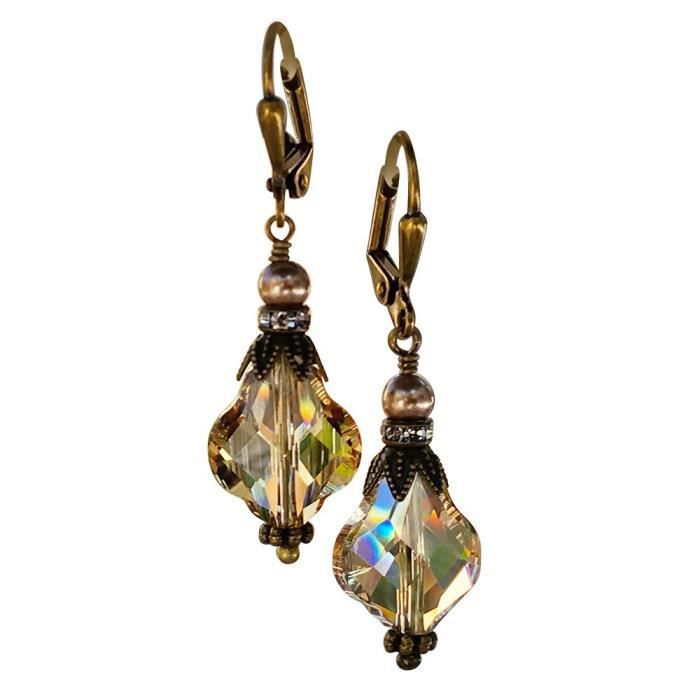 Womens Golden Shadow Baroque Vintage Inspired Earrings With Crystal From Swarovski CVDD2