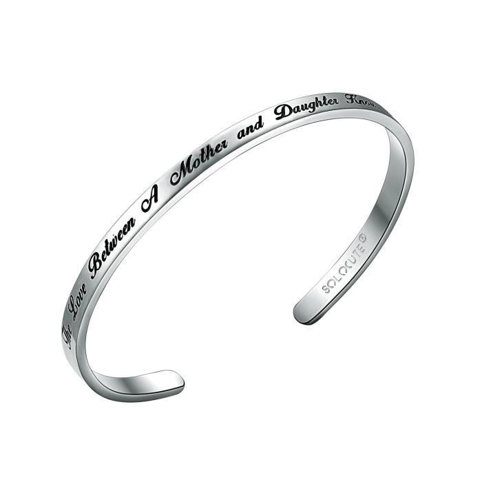 Womens Cuff Bangle Bracelet Engraved the Love Between A Mother And Daughter Knows No Distance In TFU4J