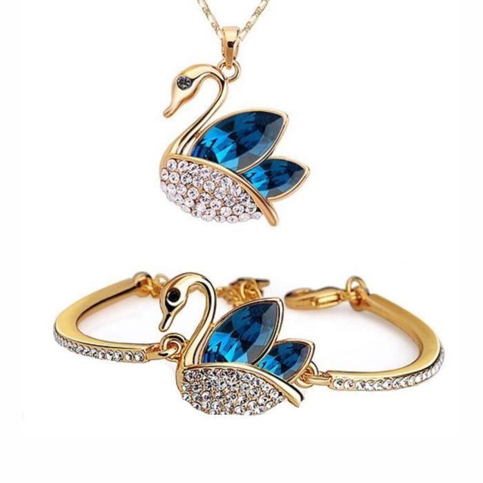 Crystal Jewellery Combo Femmes Set collier pendentif Swan exotique et Bracelet réglableW9Q38