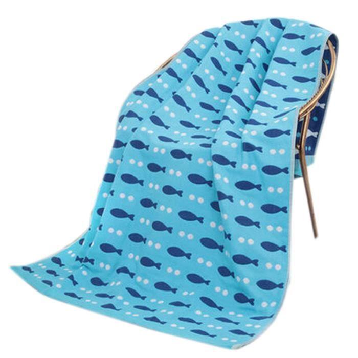 Large Soft Serviettes de plage 140 * 70cm poisson modèle, Bleu ...