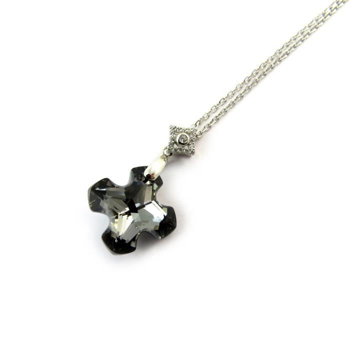 Lily-Crystal [N3434] - Collier Argent Croix(Crystal)