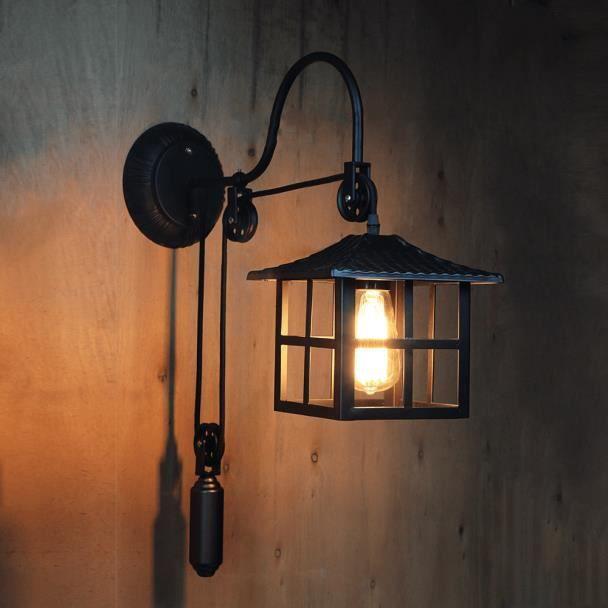 Industrielle Hoshi Lampe Japonais Style Murale Noir QrxWdCeBoE