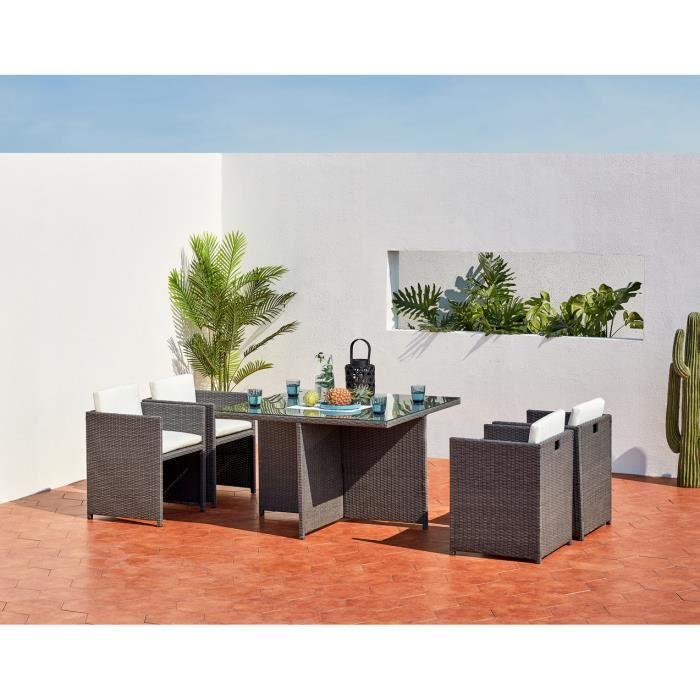 salon de jardin encastrable 4 place achat vente pas cher. Black Bedroom Furniture Sets. Home Design Ideas