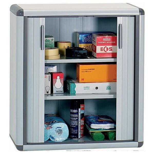 Armoire basse en résine portes à rideaux - Achat / Vente armoire de ...