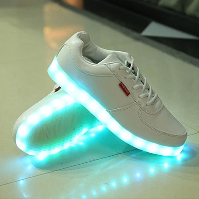 Chaussure LED Lumineuse Homme Femme 7 Couleur USB Charge LED Chaussures clignotante Haut-top Baskets KIANII® Blanc hrDSnhb