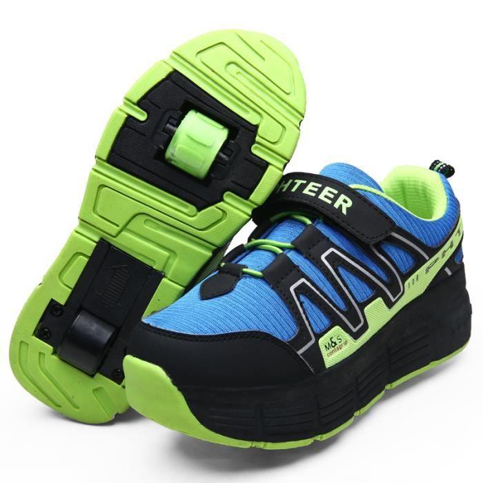 Mode Baskets lacet heelys garçon patin à roulettes sneakers enfants shoes avec la roue chaussures velcro chaussures XIaZD
