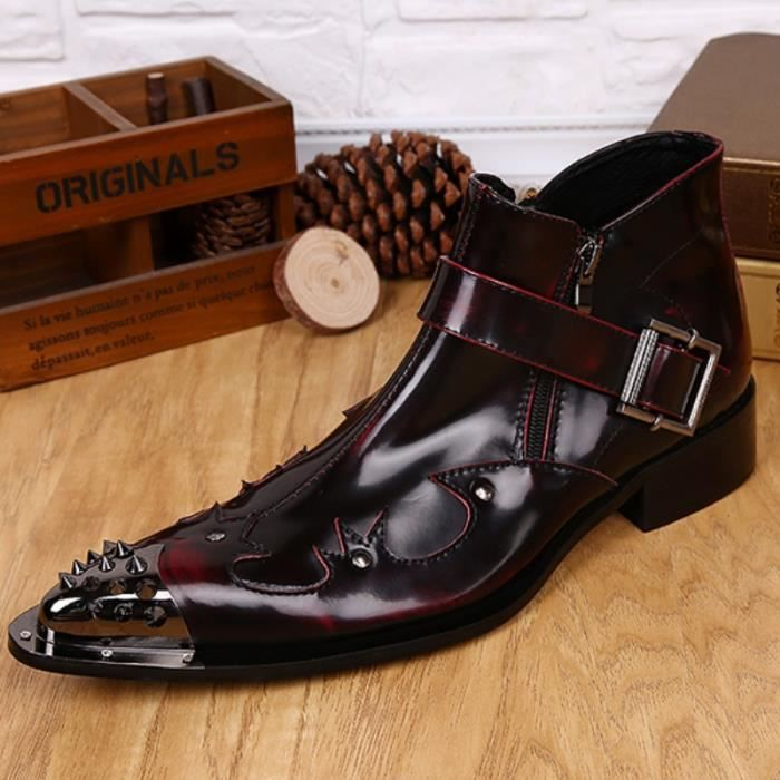 100% cuir véritable Chaussures Rétro Hommes Marque Qualité British Style Toe Rivet Boucle Pointu Bottines pour hommes Taille Plus
