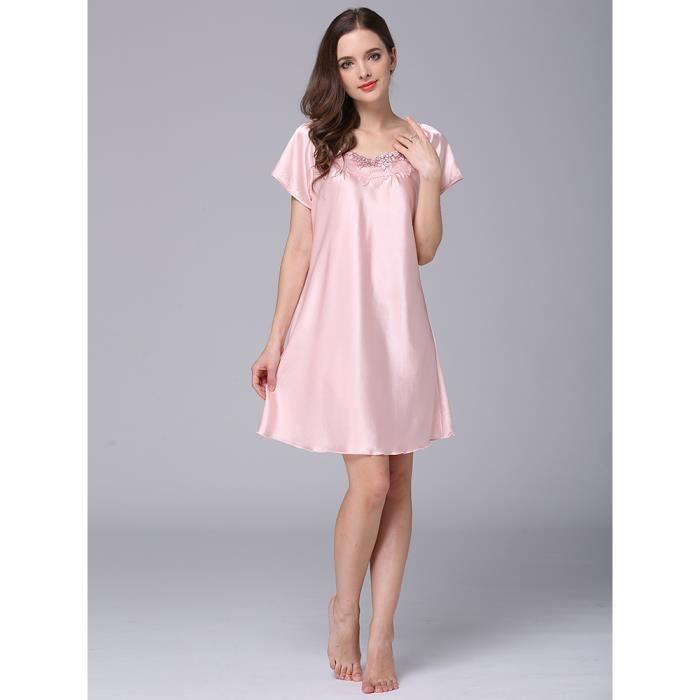 robe de nuit des femmes broderie pure fleur de couleur à manches courtes confortable robe de sommeil