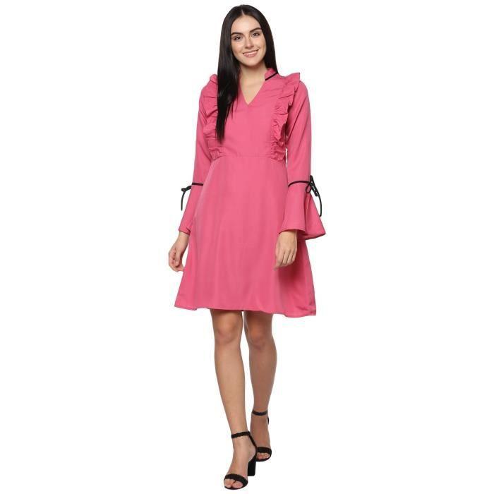 Rose Volants de Bell manches de femmes robe WQDAV Taille-38