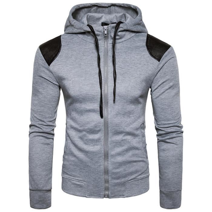 b85886663e2 Sweat capuche hommes uni de marque luxe pas cher en PU cuir Sweat shirt  homme Vêtement Masculin Manches Longues