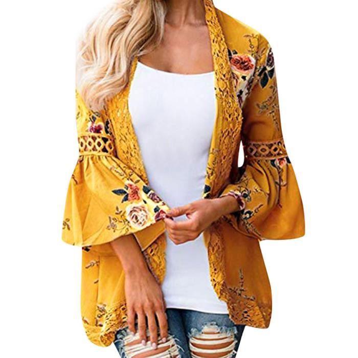 Dentelle Manteau Florale Blouse Veste Femmes jaune Cardigan Ouvert Kimono Casual Cap SnF1qd