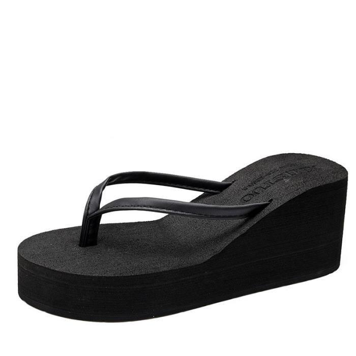 amazon faire les courses pour mieux Tongs Femmes Talon Compensé Chaussures bohémien Pantoufles Mode de Plein  air Pantoufles antidérapant Tongs Noir