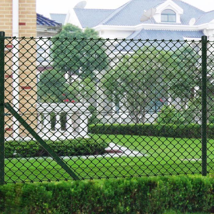 Grillage vert 1,5 x 15 m Clôture en maille galvanisée en PVC ...
