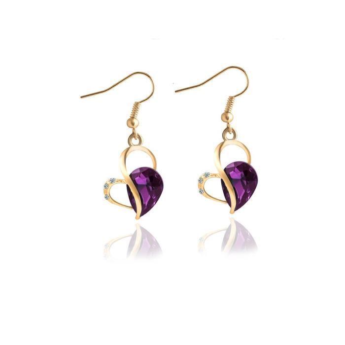Mode pendentif coeur des femmes en cristal Dangle et Boucles doreilles pour etPEIGF
