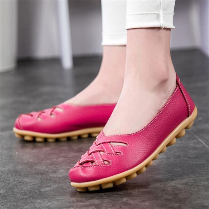 Ballerine Chaussures Femmes Été Qualité Supérieure Mode Comfortable Respirantes Grande Taille Cuir Femmes Chaussures Plate Souliers