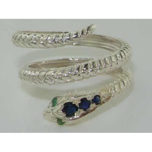 Bague pour Femme en Or blanc 9 carats 375-1000 sertie de Saphir bleu Emeraude- Tailles 50 à 64