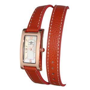 MONTRE montre bracelet femme double tour cuir marron cadr